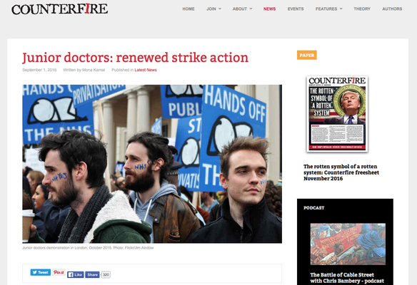 Junior Doctors: renewed strike action. 1.9.16