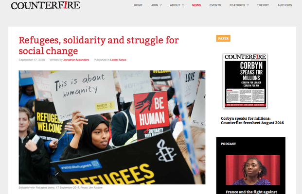 Counterfire: Refugees, solidarity and struggle for social change. 17.9.16