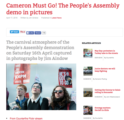 Counterfire: Cameron Must Go! The People's Assembly demo in pictures 17.4.16