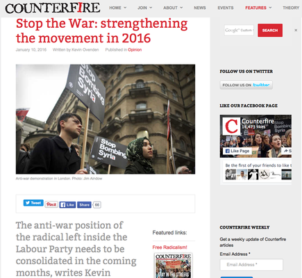 Counterfire: Strengthening the movement 10.1.2016