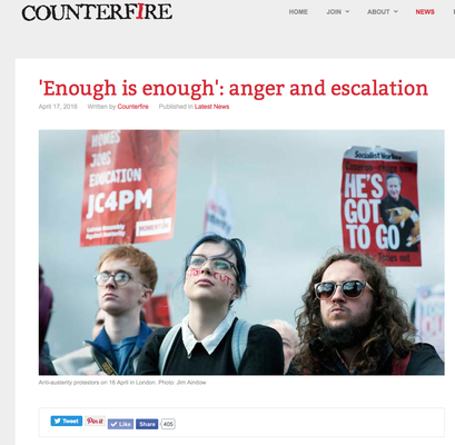 "Counterfire ""Enough is enough"" anger and escalation. 16.4.16"