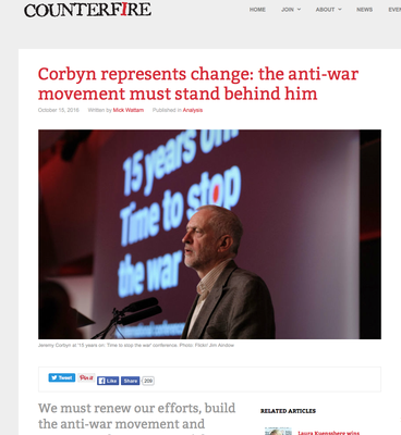 Counterfire: Corbyn represents change: the anti-war movement must stand behind him. 15.8.16