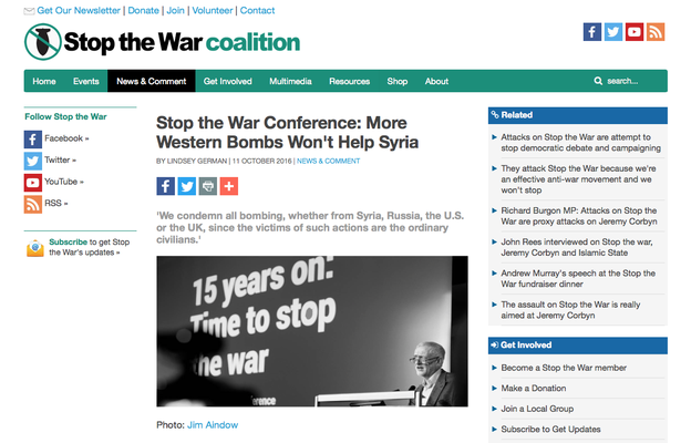 Stop the War Coalition Conference: More Western Bombs Won't Help Syria, 11.10.16