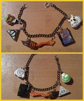 Bracciale in tema Harry Potter - 16* _I ciondoli possono essere riprodotti anche per collane! Il simbolo dei Doni della Morte è fosforescente nelle sue parti bianche ;)