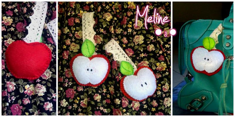 Portachiavi a forma di mela, cuciti a mano! Idea dalla pagina Handmade in Italy : https://www.facebook.com/pages/Handmade-in-Italy/265440513557795?fref=ts  --riproducibili su richiesta--   __ 8*