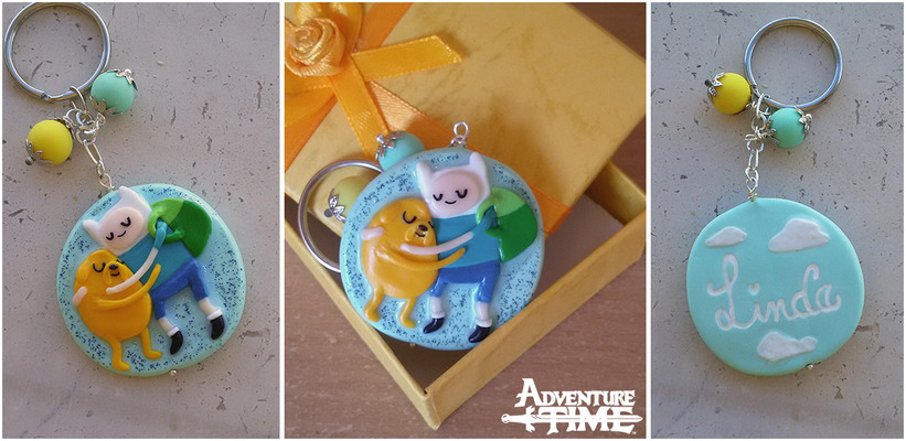 Portachiavi con Finn e Jake da Adventure Time, fatto a mano in fimo, diametro 4 cm ! - 18*