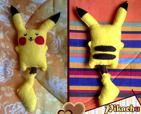 Peluche Pikachu, interamente cucito a mano -  16*