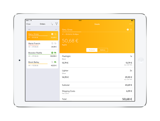 Payment shop displayed on iPad