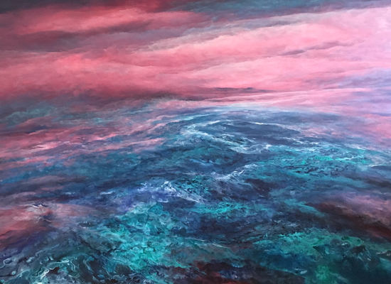Flying High III, 2018, Acryl/Tusche auf Leinwand, 100x140 cm