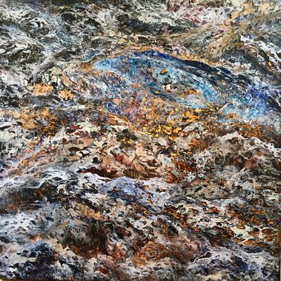 Sky  High III, 2017,  Acryl/Spachtelmasse auf Leinwand, 90x90 cm, Privatbesitz