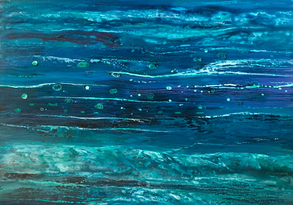 Waterline II, 2018, Acryl/Tusche auf Leinwand, 40x60 cm