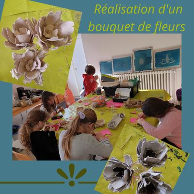atelier enfant, atelier cadeau fête des grands-mères, bouquet de fleurs, recyclage boîte à oeufs, yvoire Sciez, thonon, leman, chablais