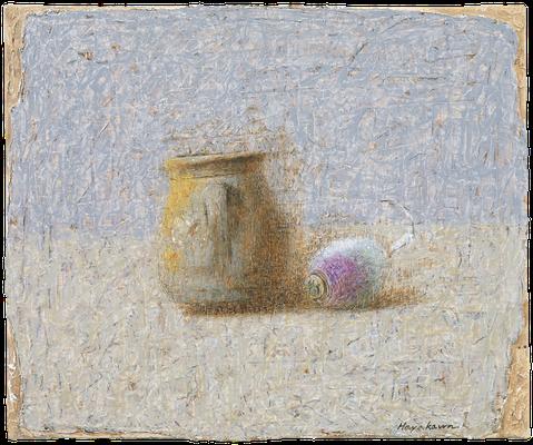 『壷と蕪』(2009年/38x46cm/油彩)