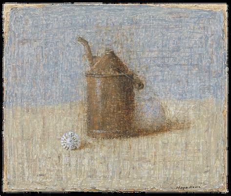 『錆びた機械油差しと貝、砂糖壷』(2008年/46x55cm/油彩)