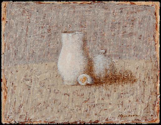 『ミルク差し、瓶、貝』(2010年/27x35cm/油彩)