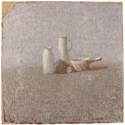 『白い陶器群-2』(2015年/100x100cm/油彩)