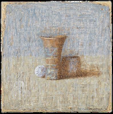 『メキシカン・タンブラーと貝、陶器』(2008-09年/50x50cm/油彩)