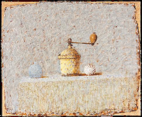 『黄色いコーヒー挽き』(2014年/50x61cm/油彩)
