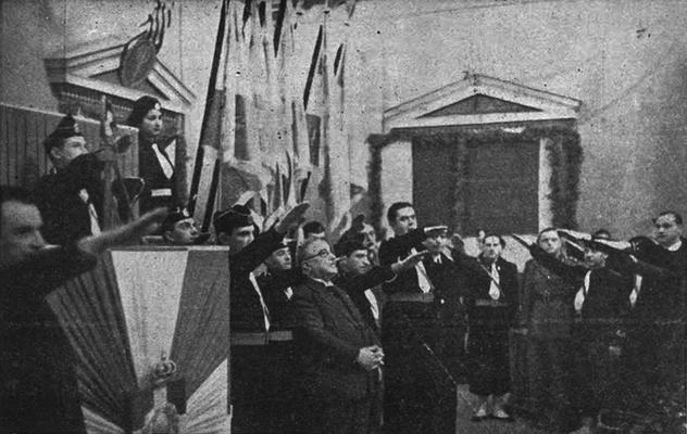 Ioannis Metaxas en 1938, salué en dictateur fasciste