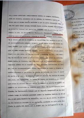 Protokoll der arg. Behörden, Seite 5, 3. Aufzählung mit Waffenidentifikation und Nr. in spanisch ausgeschrieben: quinientos seis milquinientos ochenta y cinco.