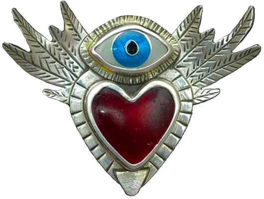 Cloisonne enamel Flying heart with eye- Fly With Eyes Wide Open