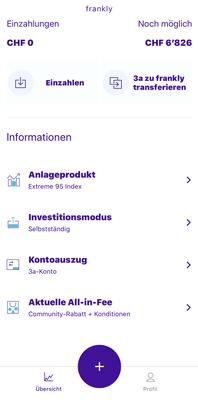 Darstellung aus der App von frankly: Übersichtsseite