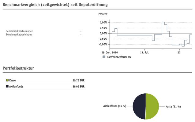 Smartbroker Grafik Benchmarktvergleich und Portfoliostruktur