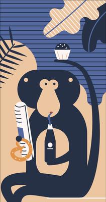 """Fenstergestaltung """"Kiosk Safari"""", Illustration Affe, 2018 © Studio Käfig"""
