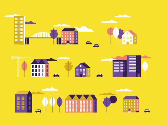 Illustration, Postkarte, Häuser, Stadt, Architektur © Studio Käfig 2018