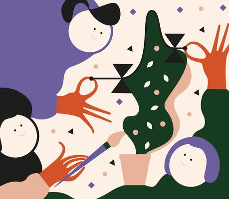 "Illustration Wandgestaltung ""Berufe"",2018, © Studio Käfig"
