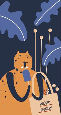 """Fenstergestaltung """"Kiosk Safari"""", Illustration Leopard, 2018 © Studio Käfig"""