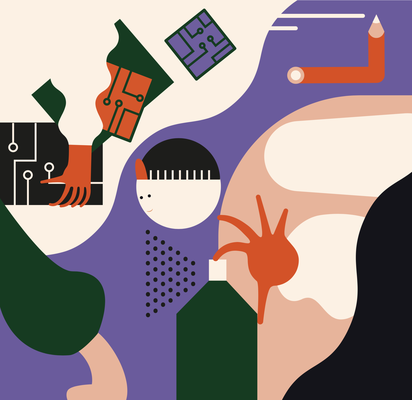 """Illustration Wandbild """"Berufe"""",2018, © Studio Käfig"""