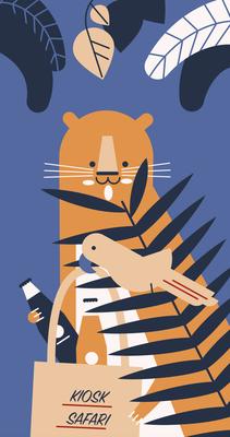 "Fenstergestaltung ""Kiosk Safari"", Illustration Tiger, Papagei, 2018 © Studio Käfig"