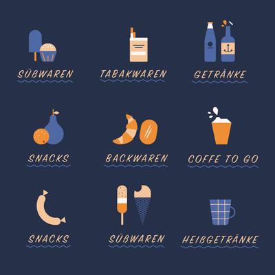 Icons, Getränke, Kaffee, Snacks, Tabakware, 2018 © Studio Käfig