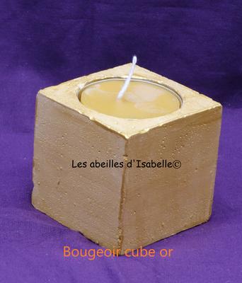 bougeoir béton cube peint or