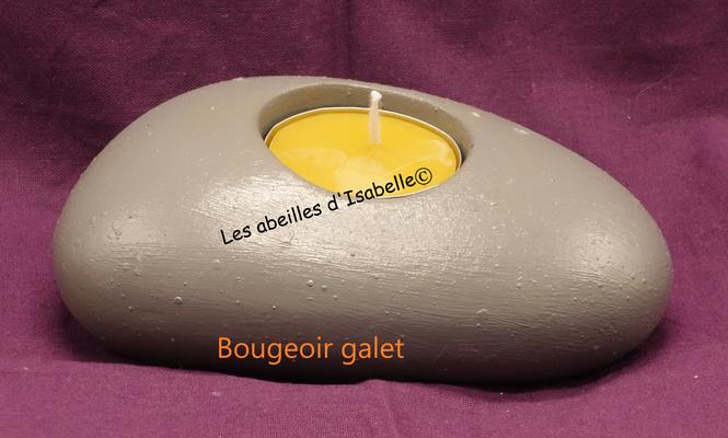 Bougeoir galet béton peint gris