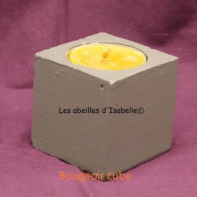 bougeoir cube béton peint gris
