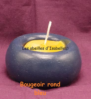 Bougeoir béton rond bleu