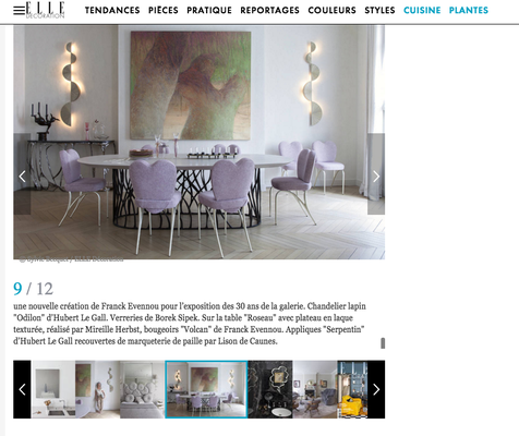 """Table """"Roseau"""" de Franck Evennou, Laque texturée création Mireille HERBST"""
