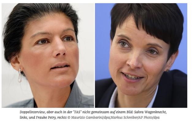 Wagenknecht stimmt mit Petry in der FAZ überein (2. Okt 2016)