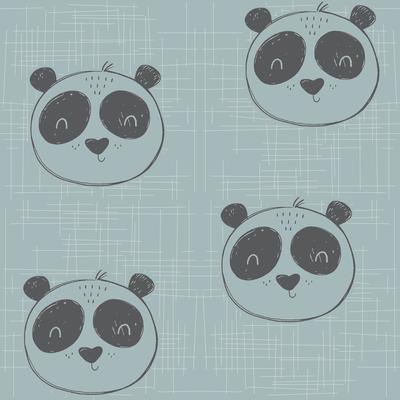 Foxlove Tierköpfe Panda Blaugrau
