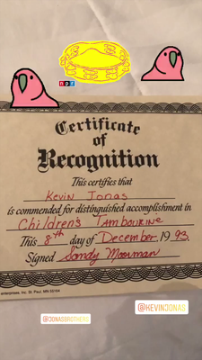 Kevin's Certificate of Recognition for his tambourine skills - 8th Dec. 1993 - Thanks Mrs. Jonas for the memories!