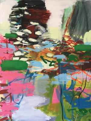 Mischwald_Am Wasser_1_Pilzbaum_2016_Acryl auf Leinwand_140 x 105 cm