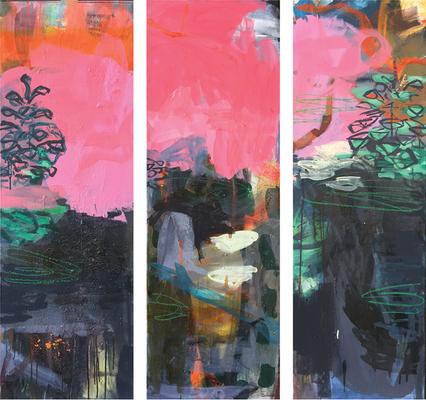Mischwald_Spiegelungen_2019_Acryl auf Leinwand_120 x x120 cm