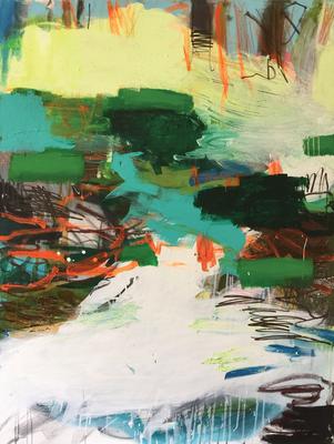 Mischwald_Am Wasser-3_Bach_2016_Acryl auf Leinwand_140 x 105 cm