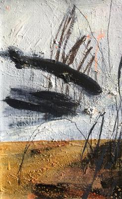 An Honig denken_H3_2019_Mischtechnik auf Holz_41 x 26 cm