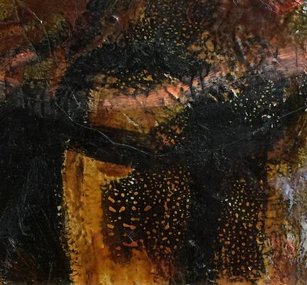 An Honig denken_H2_2019_Mischtechnik auf Holz_30 x 33 cm