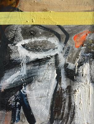 An Honig denken_H1_2019_Mischtechnik auf Holz_30 x 25 cm