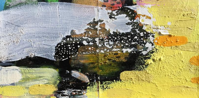 An Honig denken_H6_2019_Mischtechnik auf Holz_20 x 40 cm