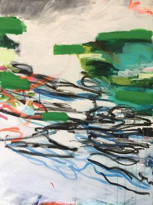 Mischwald_Am Wasser_2_Fließend_2016_Acryl auf Leinwand_140 x 105 cm